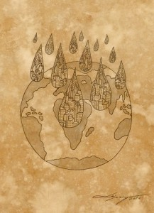 TOXIC RAIN #3 paper, coffee, ink 2016